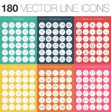 180 line icons vector set. Background stock illustration