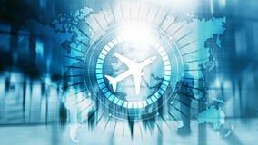 On-line-Ikonenflugzeug der Anmeldung 3D auf virtuellem Schirm stockfoto