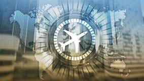 On-line-Ikonenflugzeug der Anmeldung 3D auf virtuellem Schirm stockbild