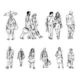 Line illustration of abstract people walking on a white background. Illustration line  of abstract people walking on a white background Stock Photo