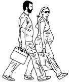 Line illustration of abstract people on a white background 1. Illustration line  of abstract people walking on a white background Royalty Free Stock Photo
