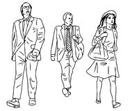 Line illustration of abstract people on a white background 3. Illustration line  of abstract people walking on a white background Stock Photo