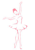 Simple line illustration of a beautiful ballet dan Royalty Free Stock Photography