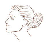 Line illustration of a beautiful woman face from profile view Royalty Free Stock Images