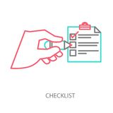 Line illustration of a checklist Stock Photos