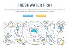 Website Banner and Landing Page of Freshwater Fish. Line illustration of freshwater fish. Concept for web banners and printed materials. Template with buttons Royalty Free Stock Photos