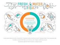 Website Banner and Landing Page of Freshwater Fish. Line illustration of freshwater fish. Concept for web banners and printed materials. Template for website Stock Photo