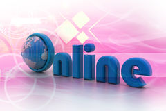 On-line illustration with globe. Royalty Free Stock Photos