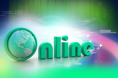 On-line illustration with globe. Stock Images