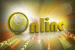 On-line illustration with globe. Stock Photos