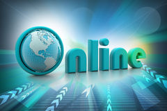 On-line illustration with globe. Royalty Free Stock Images
