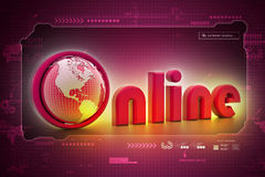 On-line illustration with globe Stock Images