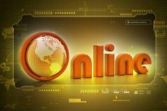 On-line illustration with globe. Royalty Free Stock Image