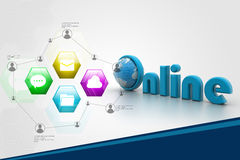 On-line illustration with globe. Stock Photo
