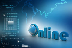 On-line illustration with globe. Stock Photo