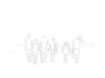 Line illustration of a group of friends taking a walk on a hot summer afternoon beach Royalty Free Stock Image