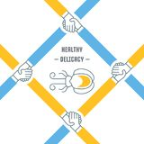 Website Banner and Landing Page of Healthy Delicacy. Line illustration of healthy delicacy. Concept for web banners and printed materials. Template for website Stock Photos