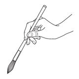 Line illustration of human hand holding brush. Line illustration of human hand holding brush isolated on white background Royalty Free Stock Photography