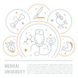 Website Banner and Landing Page of Medical University. Line illustration of medical university. Concept for web banners and printed materials. Template for Royalty Free Stock Image