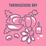 Website Banner and Landing Page of Thanksgiving Day. Line illustration of thanksgiving day. Concept for web banners and printed materials. Template for website Stock Photos