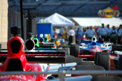 Line of Indy Cars. Cars being lined up for qualifying rounds at the Firestone Twin 275s Indy Car Race at Texas Motor Speedway Stock Photo