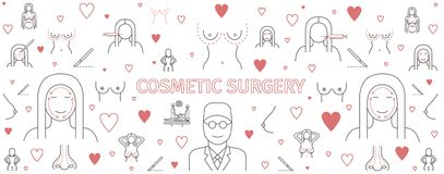 Line infographics Plastic Surgery, cosmetic surgery banner. Breast augmentation signs. Sign for web graphics Stock Photo