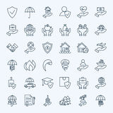 Line Insurance Service Icons Set. Vector Collection of Modern Thin Outline Business Life Insurance Symbols Stock Photo