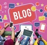 On-line-Internet-Konzept des Blog-Blogging Sozialen Netzes Stockbild