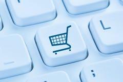 On-line-Internet-Shopkonzeptblau des Einkaufse-commerce-elektronischen Geschäftsverkehrs lizenzfreies stockfoto