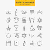Line Jewish Happy Hanukkah Icons Big Set Royalty Free Stock Photography