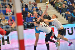 Line Jorgensen, player of CSM Bucharest attacks during the match with MKS Selgros Lublin stock photos
