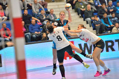 Line Jorgensen, player of CSM Bucharest attacks during the match with MKS Selgros Lublin Stock Images