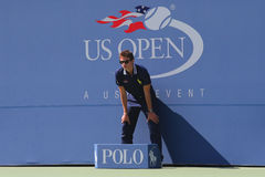 Line judge during match at US Open 2014 at Billie Jean King National Tennis Center Royalty Free Stock Image