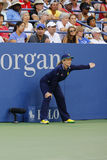 Line judge during match at US Open 2014 at Billie Jean King National Tennis Center Royalty Free Stock Photos