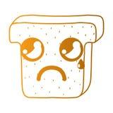 Line kawaii cute crying slice bread royalty free illustration