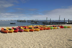 Line of Kayaks Royalty Free Stock Images