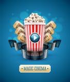On-line-Kinokunstfilm, der mit Popcorn aufpasst lizenzfreie abbildung