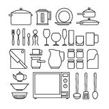 Line kitchen icons Royalty Free Stock Photography