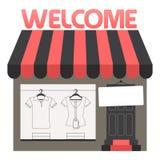 On-line-Kleidungs-Shop-Fenster-Anzeige, flaches Vektor-Firmenzeichen Stockfoto