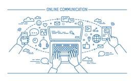 On-line-Kommunikation lineart Fahne Geräte, Informationstechnologie, Kommunikationen, Mitteilung, Chat, Medien form lizenzfreie abbildung