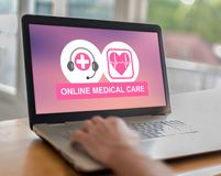 On-line-Konzept der medizinischen Behandlung auf einem Laptop vektor abbildung