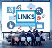 On-line-Konzept Link-Netz-Hyperlink-Internet Backlinks lizenzfreies stockbild