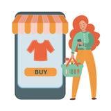 ON-LINE-KUNDE flache Vektor-Illustration eingestellt über das Geschäftsfraueinkaufen vektor abbildung