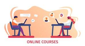 On-line-Kurs-Fahne Fernstudieren im Internet vektor abbildung