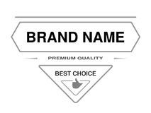Line label. Triangle frame for Brand name with text of Premium quality, Best choice and with symbol of hand. Monochrome design. Stock Image