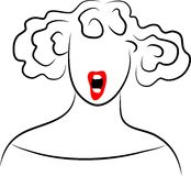 Line Lady. Shouting lady - elegant line series Stock Image