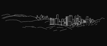 Line Landscape BW 03 A. The illustration of hand drawn outlined landscape on a dark grey background. Vector image Royalty Free Stock Photo