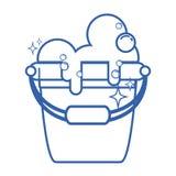 Line laundry pail with detergent bubbles to clean. Vector illustration vector illustration
