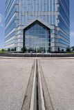 Line lead to futuristic building Royalty Free Stock Photo
