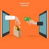 On-line-Lebensmittel, das flaches Vektorkonzept bestellt vektor abbildung